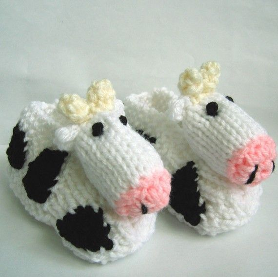 Crochet Animal Baby Booties Pattern : Cows Slippers Duck Slippers Pig Slippers Childrens Animal ...