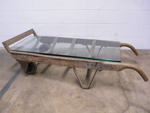 Columbus architectural salvage repurposed hand truck for Architectural salvage coffee table