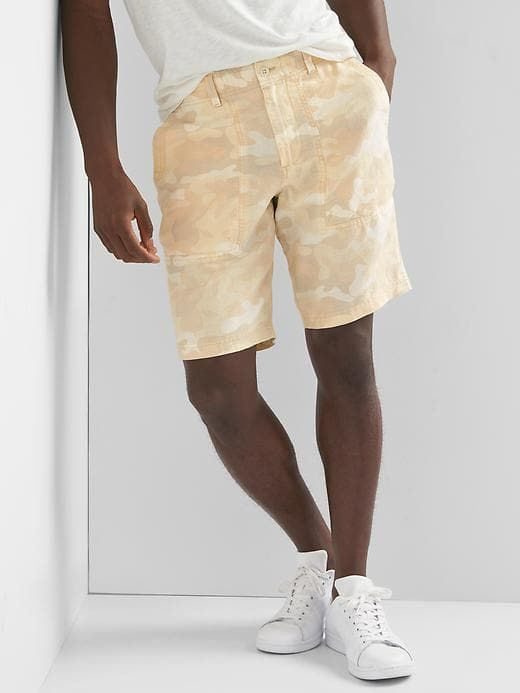 Gap Mens Linen-Cotton Utility Shorts Khaki Camo