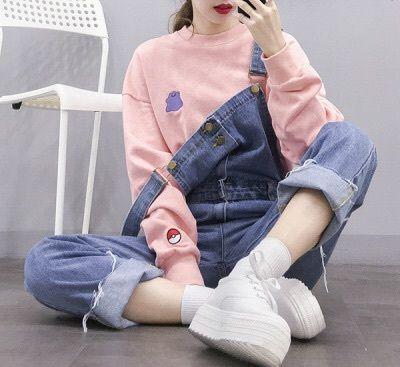 fashion, girl, kfashion, Korean fashion, asian girl, korean girl, outfit, shoes, platform, denim, salopette, sweater, pink, pokeball