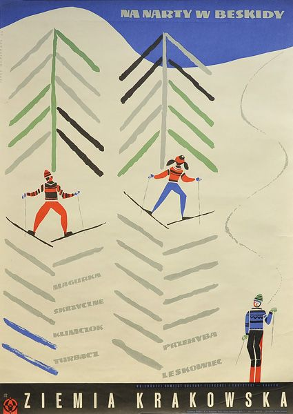Beskidy, Poland ski #travel #poster by George Napieracz 1967