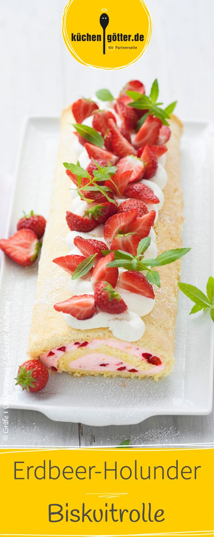 Das Rezept für diese sommerlich leichte Erdbeer Biskuitrolle ist ganz einfach und schmeckt fruchtig nach Holunder.