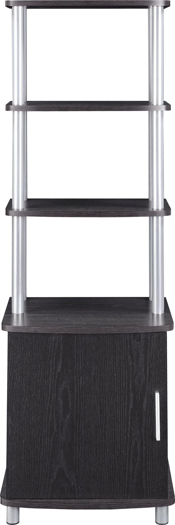 Altra Carson Audio Stand, Espresso. Carson Audio Stand is large enough to hold all your components and accessories. This contemporary Audio Stand can also be used as a storage item in almost any room of your home. Top section has 3 shelves that are perfect for your DVD player, gaming console or to display decorative items. Audio Stand also includes 1 adjustable shelf and 1 fixed shelf behind the door. Store your DVDs, CDs and video games in the concealed storage behind the door.