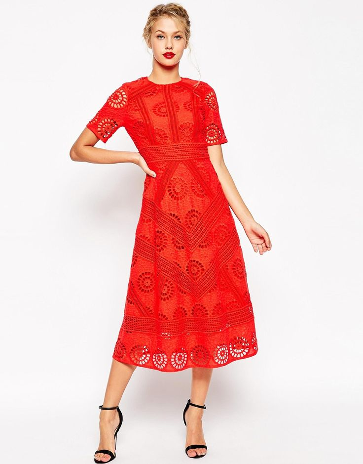 Image 1 of ASOS Premium Midi Skater Dress in Lace