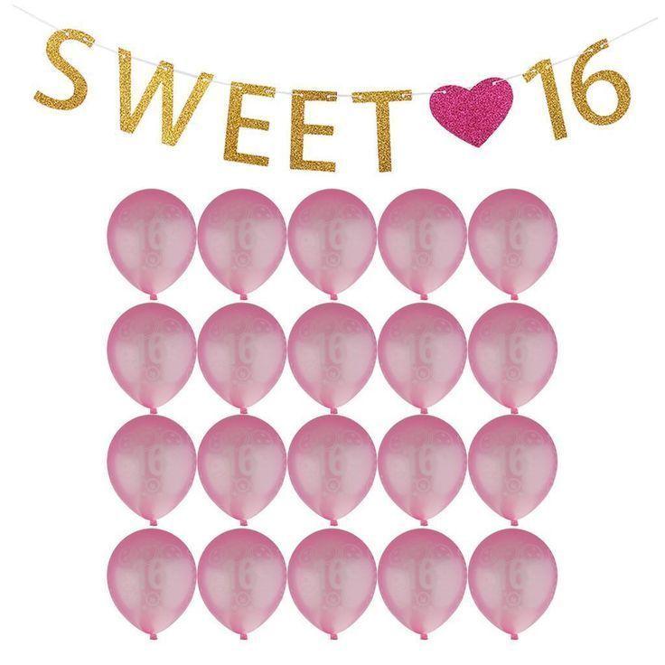 6.35AUD – Girls Sweet 16 Heart 16Th Birthday Banner Room Decoration 20Pcs Age Balloons #ebay #Home & Garden - #35aud #banner #birthday