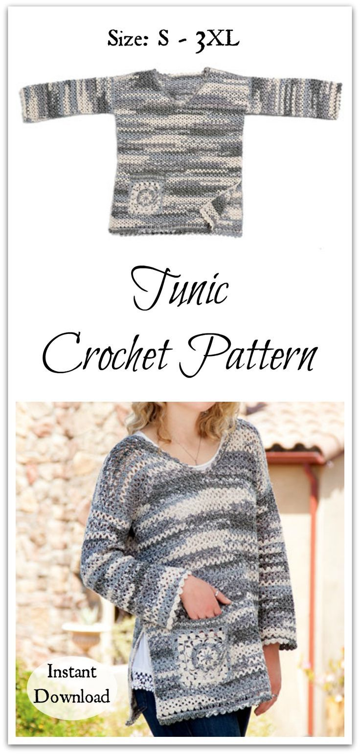 2076 best crochet tops images on pinterest boleros knitting and this casual boho style tunic with charming granny pocket and shell edging bankloansurffo Images