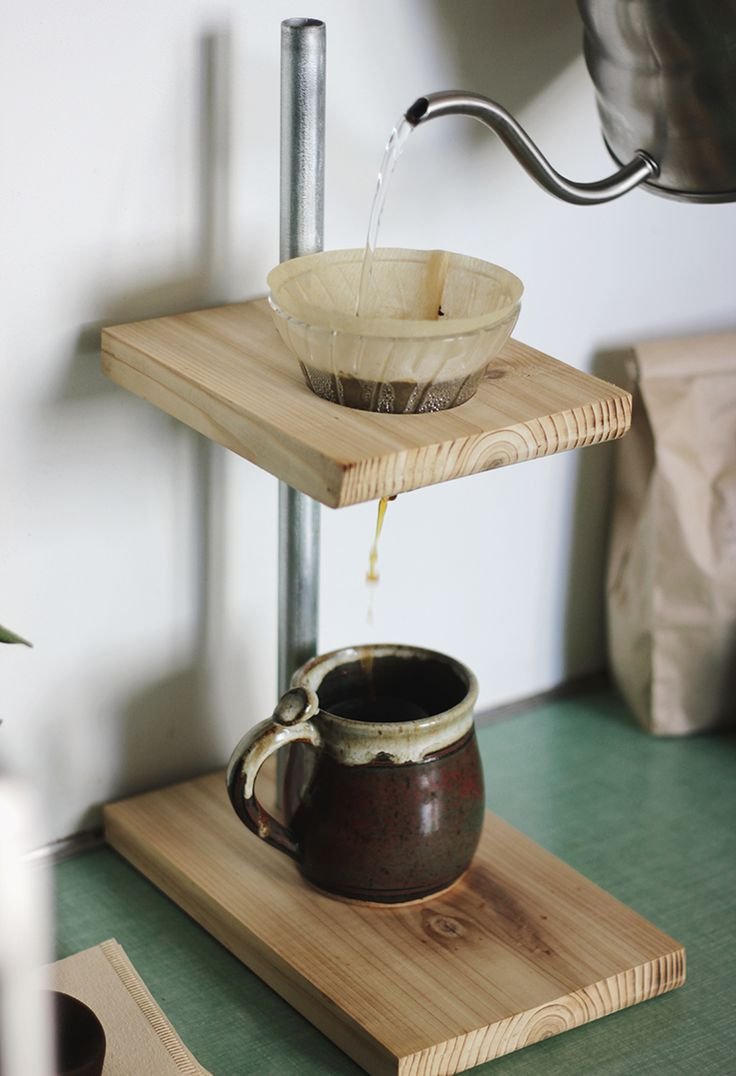 DIY Pour Over Coffee Stand @themerrythought - not sure I like the raw conduit, but I'm sure that other options are available; the same is definitely true for the wood as well; a nice dark stain would serve this well