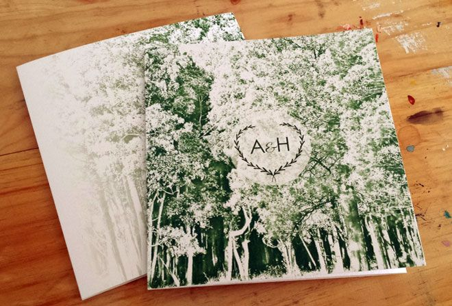 Forest wedding invitation by Beechtree Creative.
