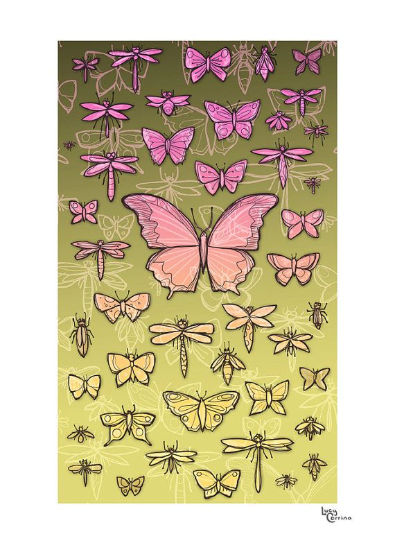 Butterflies and Wings in Greeny Print by lucycorrina on Etsy, $25.00