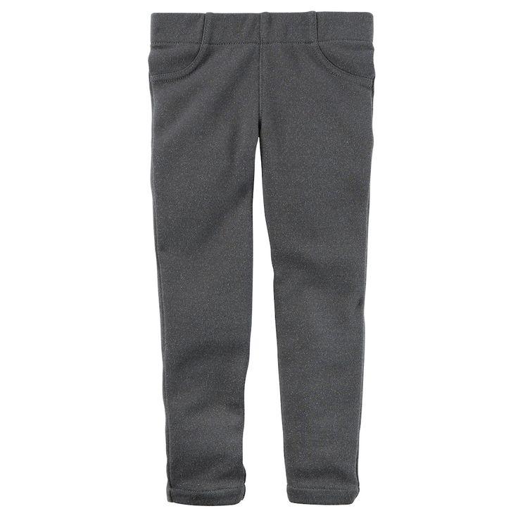 Girls 4-8 Carter's Lurex Skinny Pants, Size: 6X, Grey