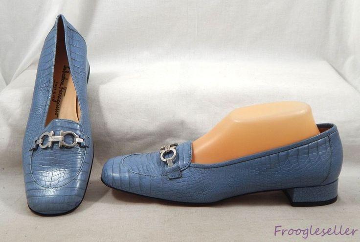 Salvatore Ferragamo womens Gancini bit loafers shoes 9.5 2A blue leather #SalvatoreFerragamo #LoafersMoccasins #Dress