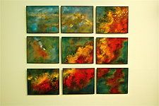 """Swan in Nine Panels by Cynthia Miller (Art Glass Wall Sculpture) (34"""" x 40"""")"""