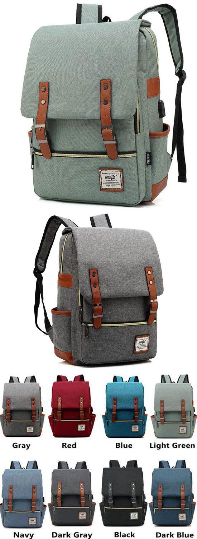 Vintage Double Belt Large Thick Canvas Girl's College Rucksack USB Interface School Backpack for big sale! #backpack #canvas #bag #large #book #student