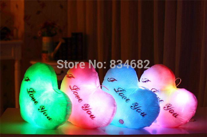 J.g чен Juguetes Brinquedos рождественские игрушки, из светодиодов свет подушку, плюшевые подушки, горячая красочные сердца подушка, мигающий, подарок на день рождения