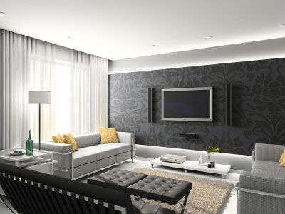 black wallpaper! great TV roomInterior Design, Living Rooms, Contemporary Living Room, Features Wall, Black And White, Home Interiors Design, Living Room Designs, Modern Living Room, Interiordesign