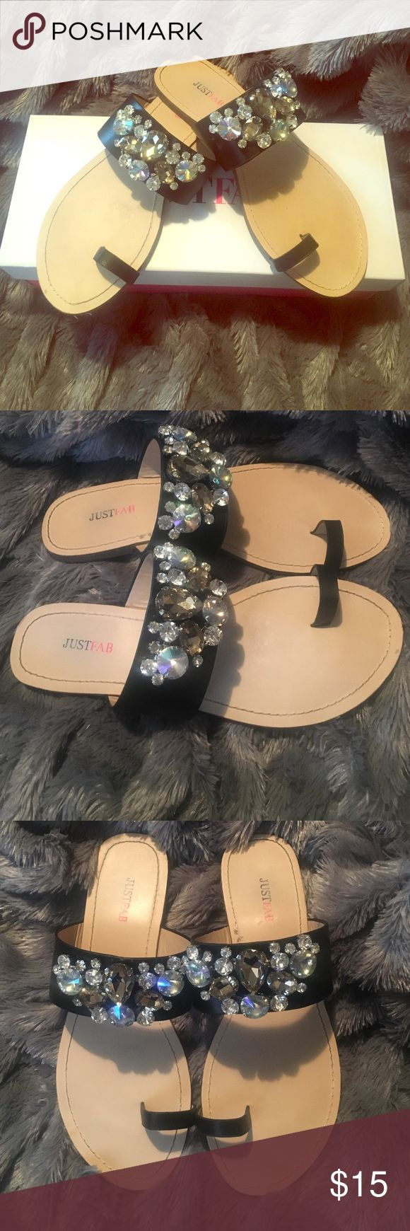 Black jewelled sandal Excellent condition 💥 JustFab Shoes Sandals