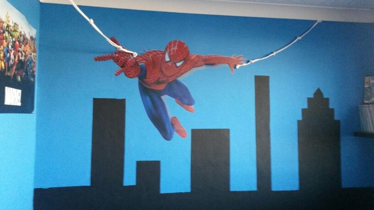 spiderman playroom wall use rope as Web can use to display paintings on