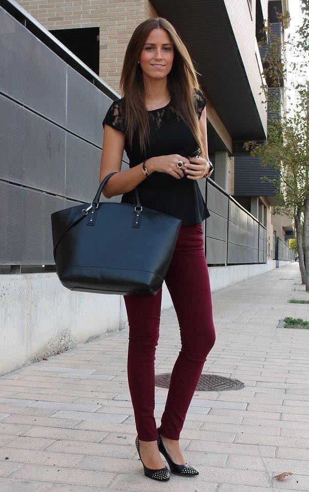 Outfit Femeninas Vino VinoMujeres Pantalones Color Pantalon PkiXZu