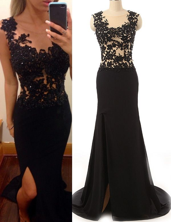 prom dress, 2016 prom dress, black mermaid prom dress with slit, graduation dress, formal dress, party dress