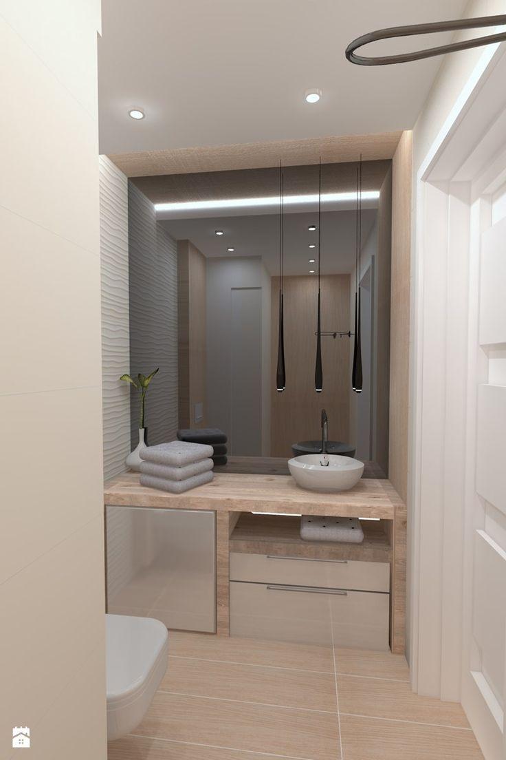 Łazienka minimalistyczna falująca w drewnie - zdjęcie od inter-design