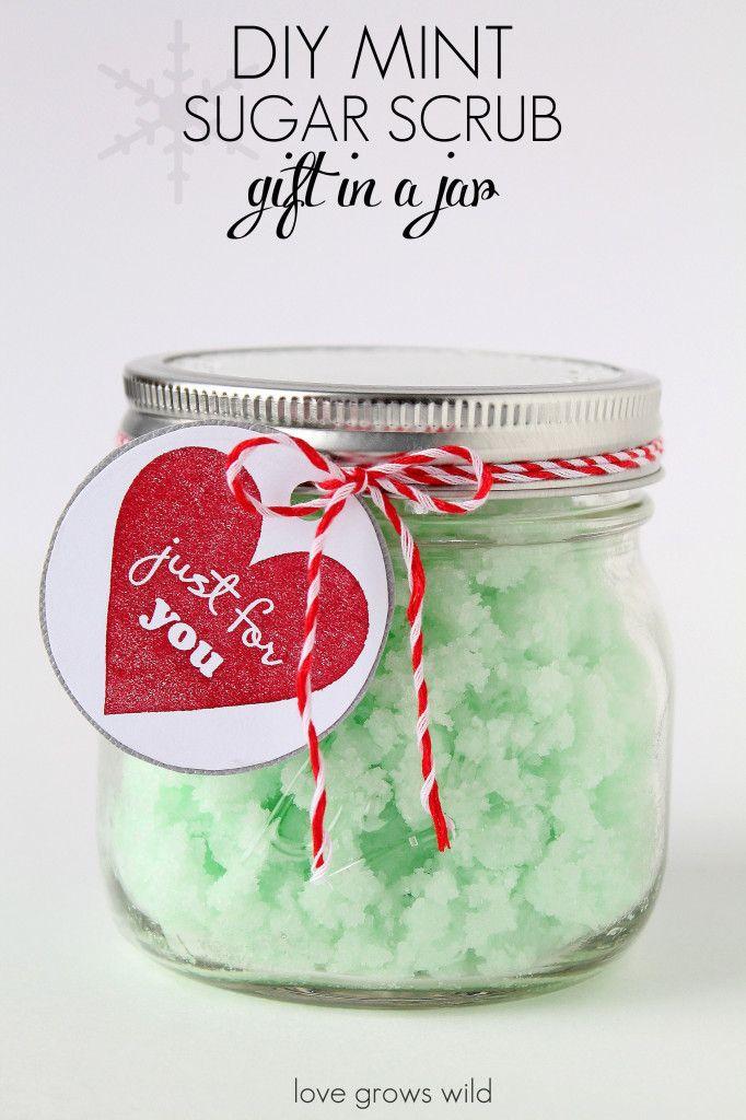 Homemade Mint Sugar Scrub - this scrub makes your skin feel so soft and smells amazing! Great DIY gift idea too!   LoveGrowsWild.com