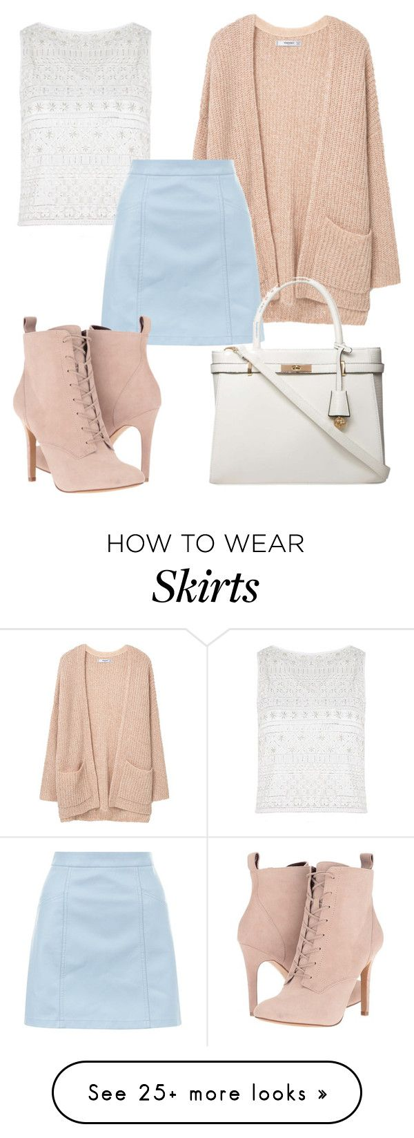 """""""Sky Skirt"""" by mosbyfatima on Polyvore featuring MANGO, Alice + Olivia, New Look, BCBGeneration and Dorothy Perkins"""
