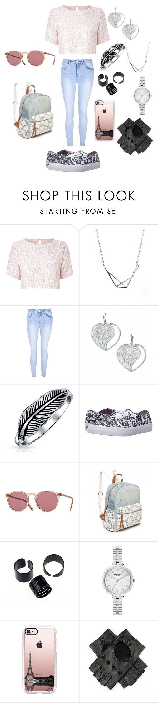 """""""Untitled #385"""" by shoialshammeri ❤ liked on Polyvore featuring True Decadence, Glamorous, Bling Jewelry, Vans, Oliver Peoples, Red Camel, Kate Spade, Casetify and Black"""