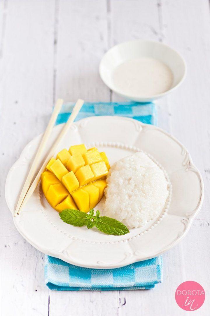 """Kleisty ryż z #mango czyli """"sticky rice with mango"""" lub """"mango sticky rice"""" - pyszny #deser kuchni tajskiej, którego koniecznie trzeba spróbować! #sweet #thaifood #kuchniatajska #thaicuisine"""