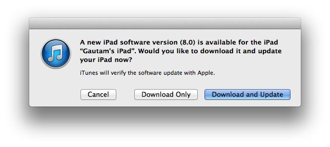 Download and update iOS 8