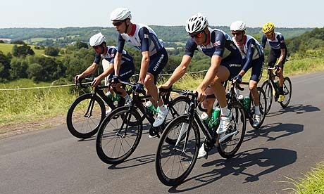 team GB cyclists - mark cavendish, chris froome, ian stennard, david millar and bradley wiggins prepare for the men's road race in the 2012 olympic games. bryn lennon/getty images