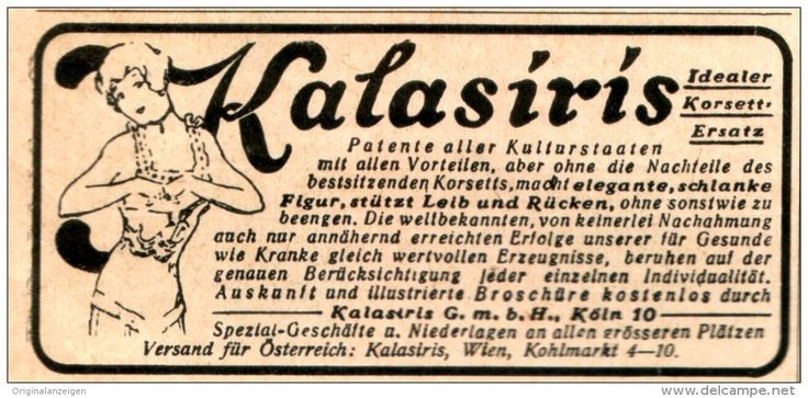 Original-Werbung/Anzeige 1916 - KALASIRIS KORSETTERSATZ - ca. 90 x 45 mm