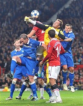 Man Utd 0 Rangers 0 in Sept 2010 at Old Trafford. Rangers keeper Allan McGregor just gets a touch on this cross in the Champions League, group stage.