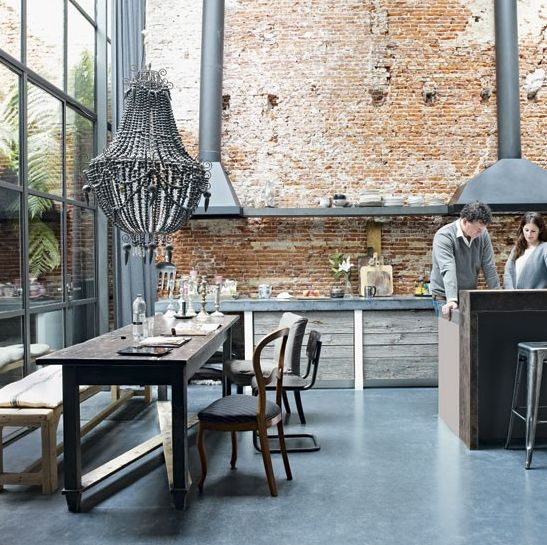 .: Kitchens, Dining Room, Interior, Chandelier, Idea, Brickwall, Brick Walls, House, Exposed Brick