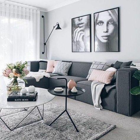 formidable deco salon gris, peinture salon gris clair, tapis gris, canapé anthracite, petites touches de rose