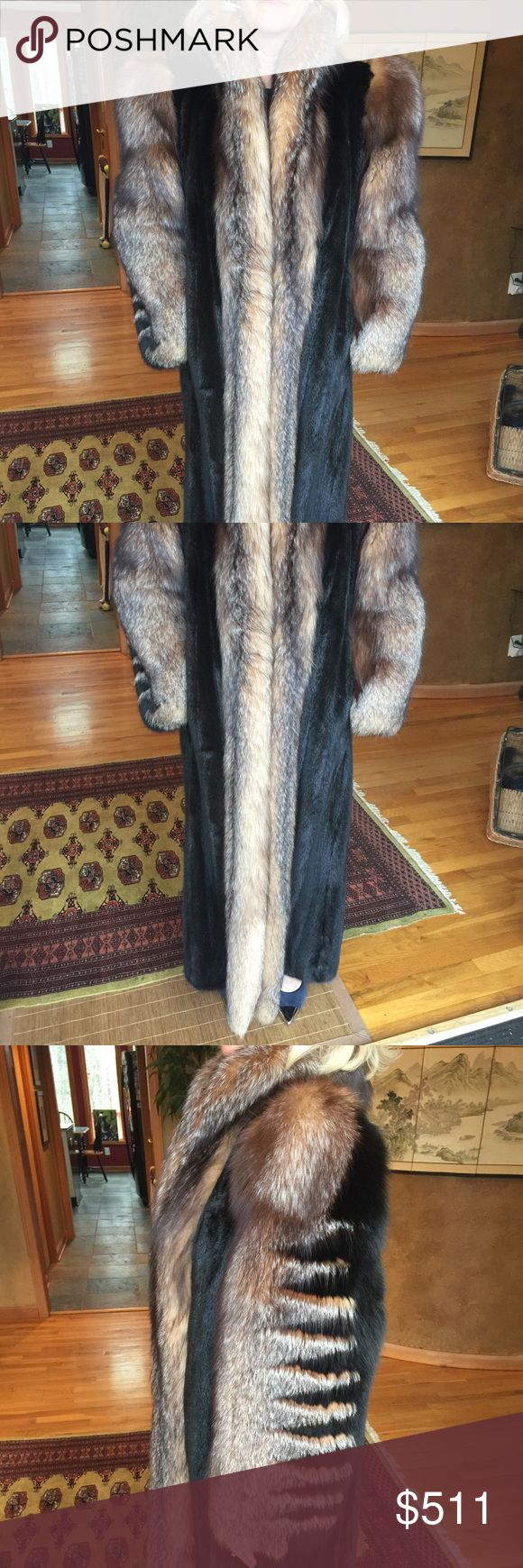 Full length fox/mink coat Szor-Diener full length fox and mink coat. Size small.  Very dark brown mink. Side view shows zig zag pattern.  No odor, in great condition both lining and fur. Szor-Diener Jackets & Coats