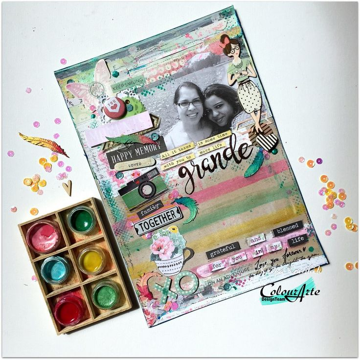 the Colour Press: (VIDEO): Beginner Mixed media scrapbook layout using Colouarte