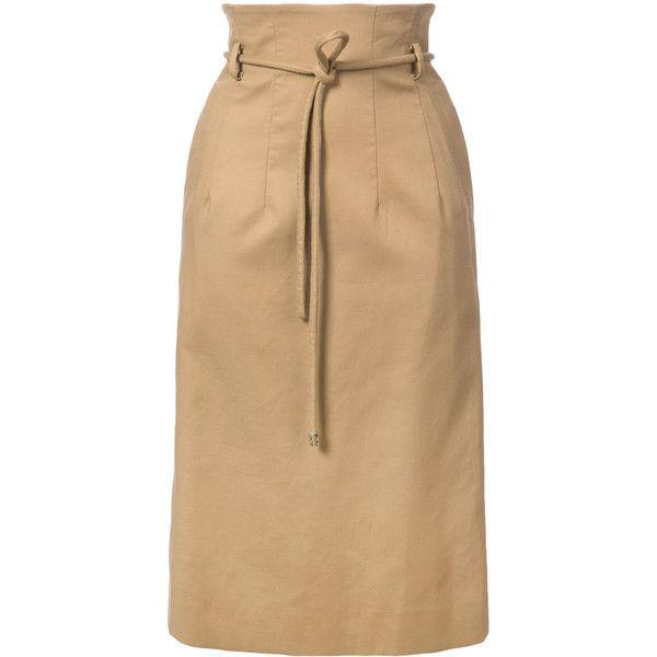 Oscar de la Renta tie waist pencil skirt ($890) ❤ liked on Polyvore featuring skirts, pencil skirt, beige skirt, knee length pencil skirt, oscar de la renta and tie waist skirt