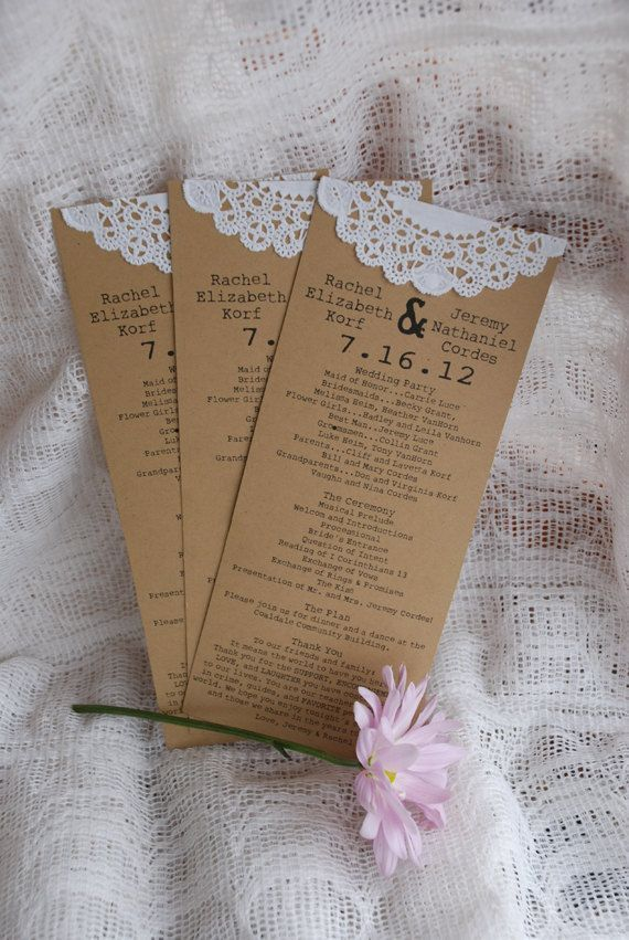 My style...classy. Vintage themed kraft paper wedding programs with doilies