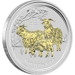 Your birth in the Year of the Goat means you're sure to be elegant, charming, artistic, gifted and calm | Australian Lunar Series II 2015 Year of the Goat 1oz Silver Gilded Coin