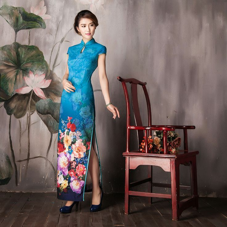Shop elegant silk cheongsam, traditional Chinese red bridal dresses, sexy modernize Qipao from www.ModernQipao.com. Save 6% by share our products. Blue floral cheongsam long mandarin collar traditional Chinese qipao dress