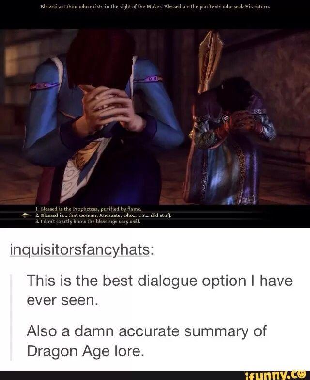That's it, that's Dragon Age Chantry lore XD