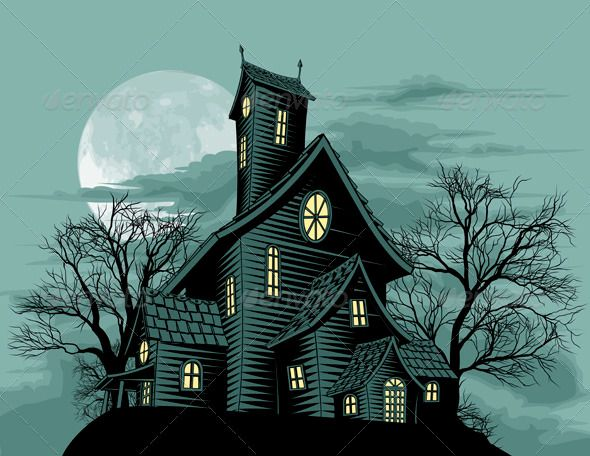 Creepy haunted ghost house scene illustration  #GraphicRiver         Halloween…