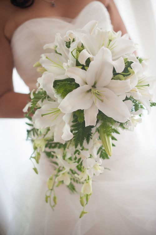 All White Wedding Flowers With Casablanca Lilies Google Search Weddingflowers