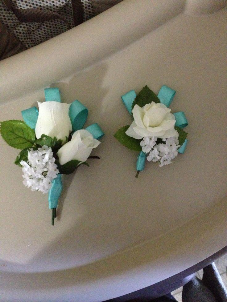 Boutineeres   Aqua Wedding  Homemade. I just LOVE LOVE LOVE these!!!!