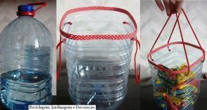 cesto con botella plastica