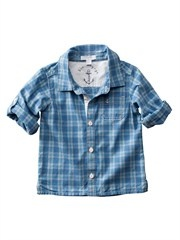 The shirt Logan wears on the cover of My Child Magazine - Roll Sleeve Check Shirt by Purebaby