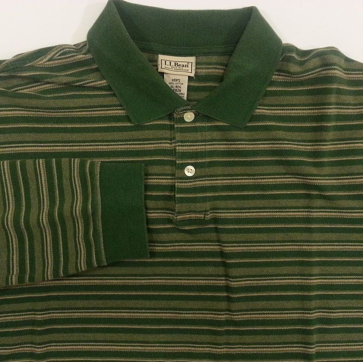 L.L. Bean Polo Shirt XL Mens Green Striped 100% Cotton Long Sleeve Extra Large  #LLBean #PoloRugby #ArtieBobs #MensFashion