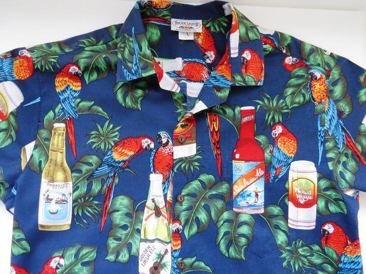 Mens Hawaiian Aloha Shirt - Colorful Tropical Parrots - Size L - Summer Vacation Resort Cruise Wear - Mens Casual Wear by shopgirls4 on Etsy