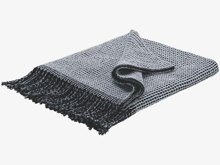 ABBAN BLACK Cotton Black and grey reversible cotton throw - HabitatUK