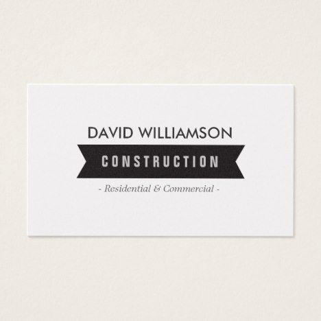 BLACK BANNER CONSTRUCTION BUILDER ARCHITECT BUSINESS CARD #electrician #sparky #businesscards